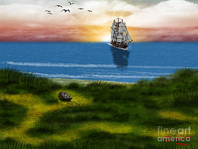Ocean Front Landscape Digital Art - End Of The Voyage by Thomas OGrady