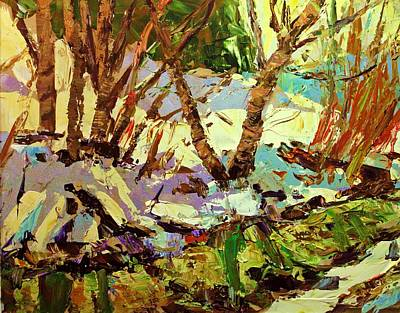 Winter Light Through The Trees Painting - End Of Winter by Brian Simons