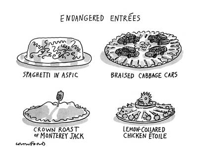 Cabbage Drawing - Endangered Entrees by Michael Crawford
