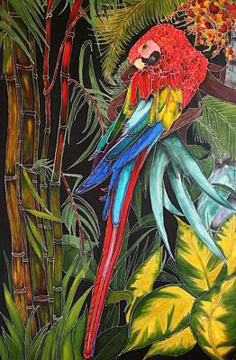 Scarlet Macaw Painting - Endangered Macaw by Judy Swircenski