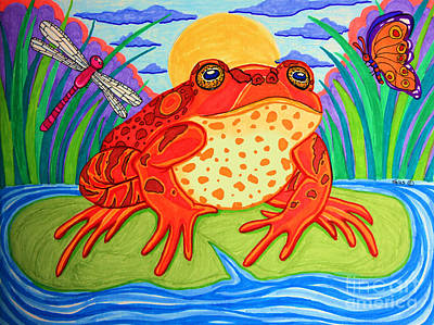 Lilies Drawings - Endangered Red Legged Frog by Nick Gustafson