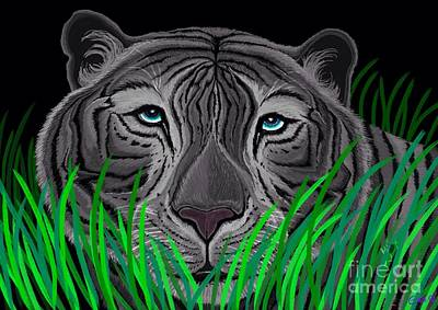 White Tiger Mixed Media - Endangered White Tiger by Nick Gustafson