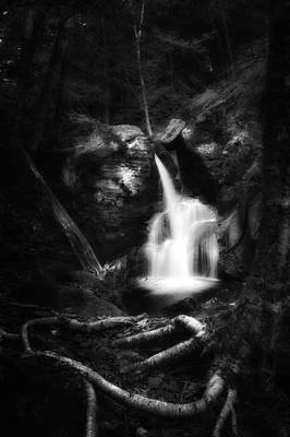 Photograph - Enders Falls Black And White by Bill Wakeley