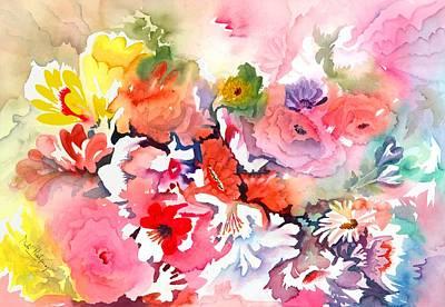 Deep Pink Painting - Endless Blossoms by Neela Pushparaj