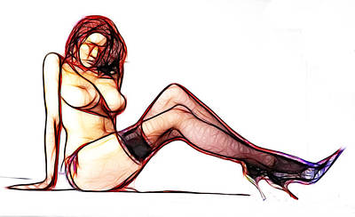 Black Sex Drawing - Endless Legs by Steve K