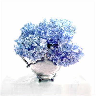 Photograph - Endless Summer Hydrangeas In A Silver Pitcher Still Life by Louise Kumpf