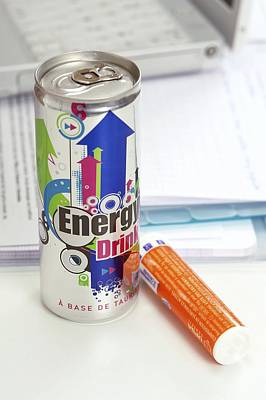 Revising Photograph - Energy Drink And Vitamin Pills by Science Photo Library