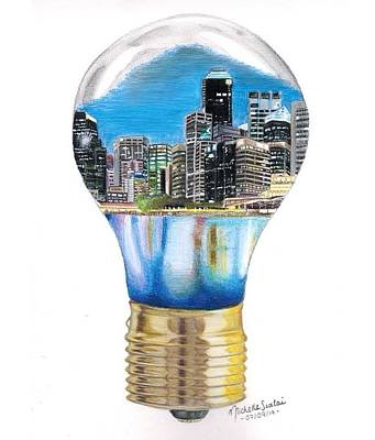 Lightbulb Drawing - Energy by Michelle Szalai