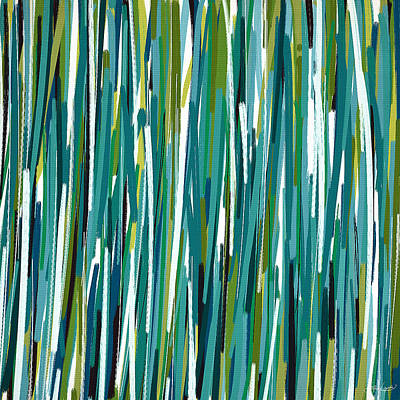 Blue And Green Painting - Energy Rises by Lourry Legarde