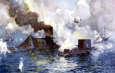 Navy Painting - Engagement Between The Confederate Ironclad Merrimac Also Called Virginia And Monitor by American School