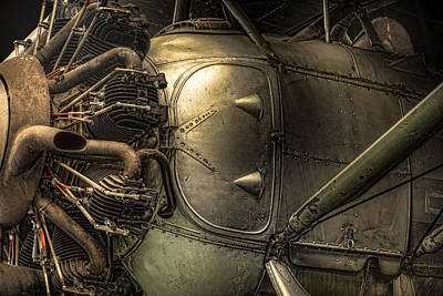 Cockpit Photograph - Radial Engine And Fuselage Detail - Radial Engine Aluminum Fuselage Vintage Aircraft by Gary Heller