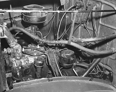 Engine Compartment Of A Car Art Print by Underwood Archives