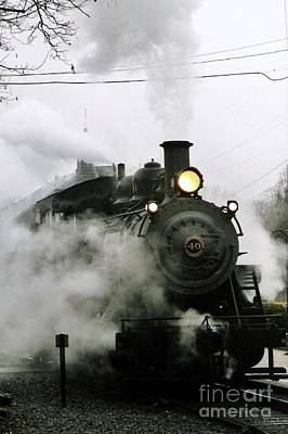 Engine Number 40 Making Steam Pulling Into New Hope Passenger Train Terminal Art Print by Michael Hoard