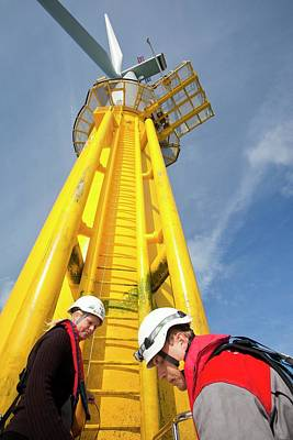 Rotor Blades Photograph - Engineer Climbing A Transition Piece by Ashley Cooper