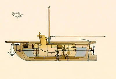 Antique Vessel Drawing - Engineering Design For A Submarine 1806 by Mountain Dreams
