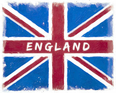 Digital Art - England Distressed Union Jack Flag by Mark E Tisdale