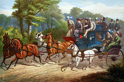 Coach Lamps Painting - England Road Travel, 1880 by Granger