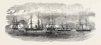 Antique Vessel Drawing - English And French Steamers In The Harbour Of Gonaive by Caribbean School