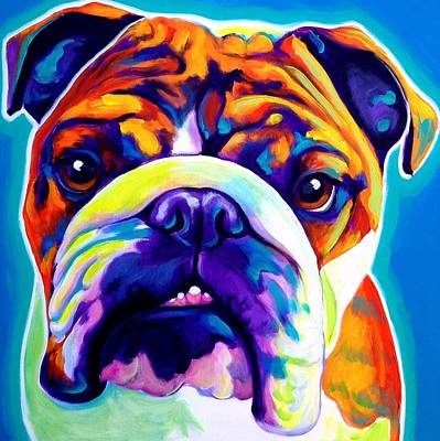 English Bulldog Painting - Bulldog - Bond -square by Alicia VanNoy Call