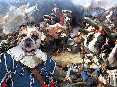 Painting - English Bulldog Art Canvas Print - The Blue Soldier In Battle by Sandra Sij