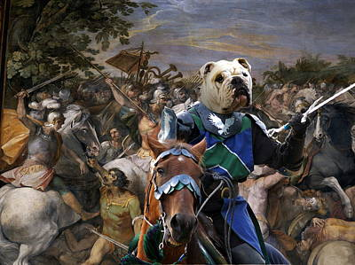 Painting - English Bulldog Art Canvas Print - The Sword And Glory by Sandra Sij