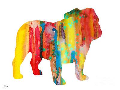 English Bulldog Art Print by Watercolor Girl