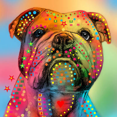 Abstract Wildlife Digital Art - English Bulldog by Mark Ashkenazi