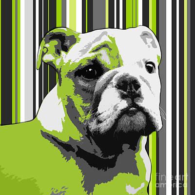 Puppy Digital Art - English Bulldog Puppy Abstract by Natalie Kinnear