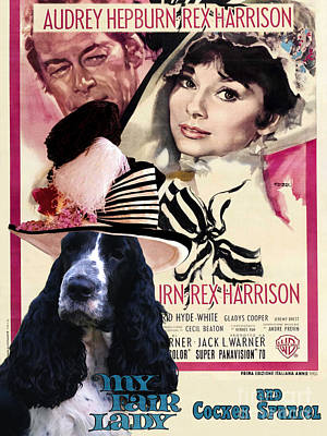 Cocker Spaniel Painting - English Cocker Spaniel Art Canvas Print - My Fair Lady Movie Poster by Sandra Sij