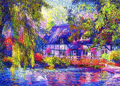 Swans.. Painting - English Cottage by Jane Small