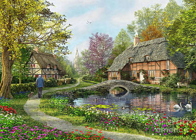 Lakes Digital Art - English Cottage by MGL Meiklejohn Graphics Licensing