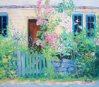 Cottage Garden Painting - English Country Cottage by Jan Matson