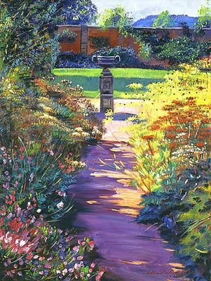 English Garden Urn Art Print by David Lloyd Glover