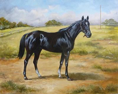 Meadow Painting - English Horse - Black Huzar by Irek Szelag