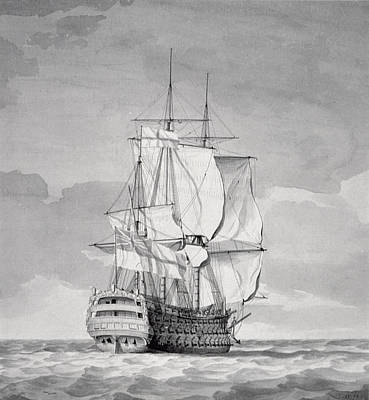 Pirate Ship Painting - English Line-of-battle Ship, 18th Century by Charles Brooking
