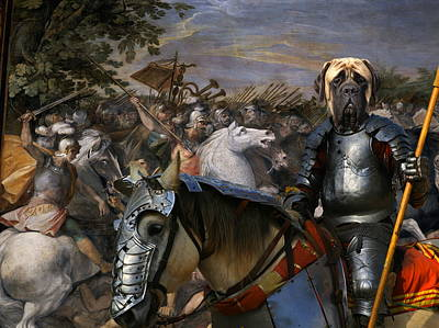Painting - English Mastiff  - Mastiff Art Canvas Print - In The Middle Of The Battle by Sandra Sij