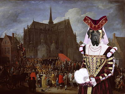 Painting - English Mastiff  - Mastiff Art Canvas Print - Waiting For Her Turn by Sandra Sij