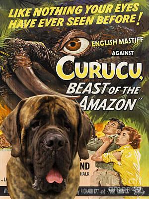 Painting - English Mastiff Art Canvas Print - Curucu Movie Poster by Sandra Sij