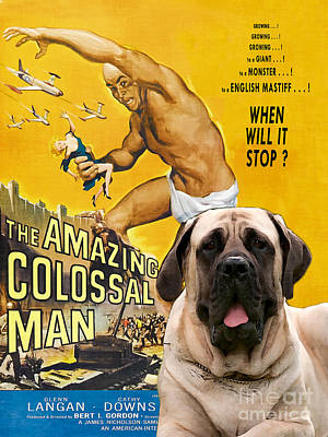 Painting - English Mastiff Art Canvas Print - The Amazing Colossal Man Movie Poster by Sandra Sij