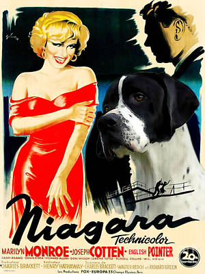 Painting - English Pointer Art Canvas Print - Niagara Movie Poster by Sandra Sij