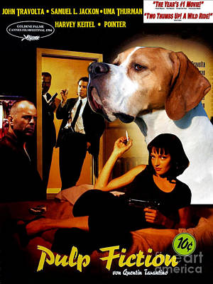 Painting - English Pointer Art Canvas Print - Pulp Fiction Movie Poster by Sandra Sij