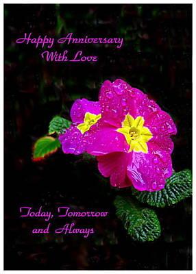 Photograph - English Primrose Happy Anniversary by Joyce Dickens