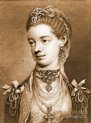 Mezzotint Engraving Photograph - English Queen Charlotte 1762 by Padre Art
