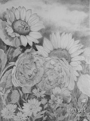 Drawing - English Roses African Sunflower by Kathryn Donatelli