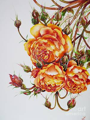 Painting - English Roses by Zaira Dzhaubaeva