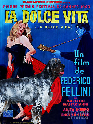 Painting - English Setter Art Canvas Print - La Dolce Vita Movie Poster by Sandra Sij