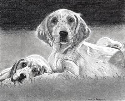 English Setter Puppies Dog Art Print by Olde Time  Mercantile