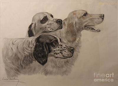 Animals Paintings - English Setters by Celestial Images