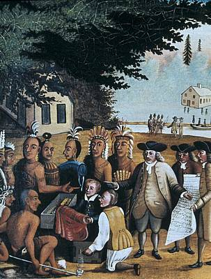 English Settlers Dealing With Indian Art Print by Everett