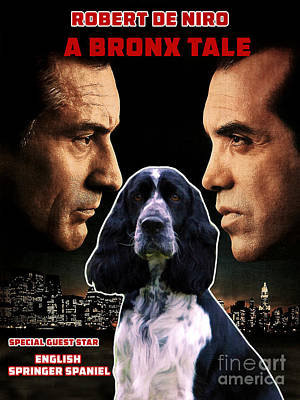 Painting - English Springer Spaniel Art Canvas Print - A Bronx Tale Movie Poster by Sandra Sij